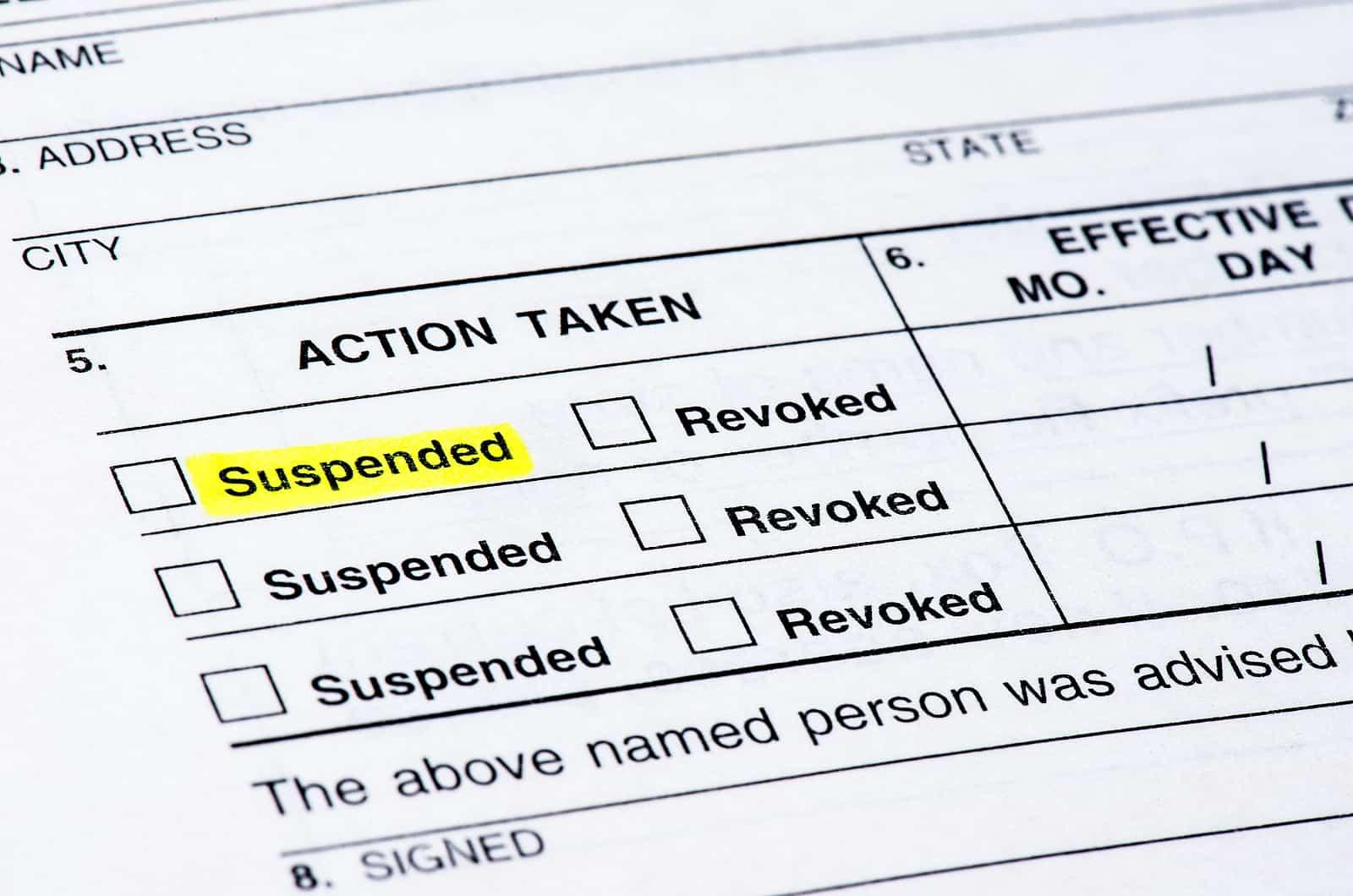 Conviction Can Cause A Driver's License Suspension
