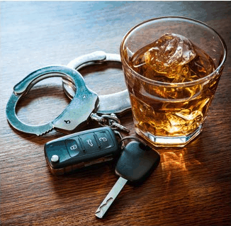 Image of Alcohol, Keys, and Handcuffs.