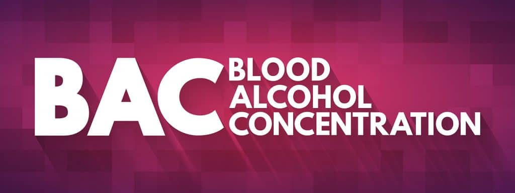 BAC blood alcohol concentration on red background for how long after drinking can you drive in Utah