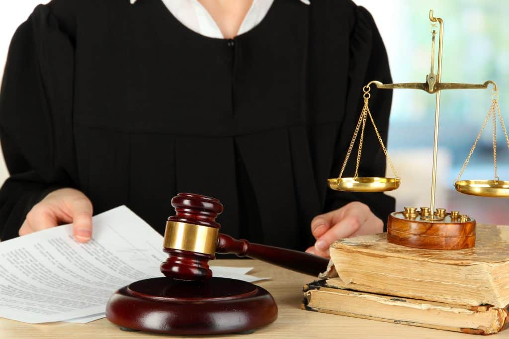 judge in robe for a court hearing in restraining order case in Utah